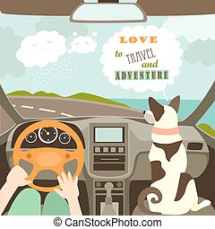 Owner having a car trip with their dog. Vector illustration