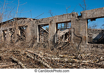 Wall of Destroyed building, concept demolition, earthquake,...