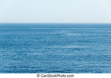Deep Blue, Tropical Ocean Stretches to the Horizon - Flat,...