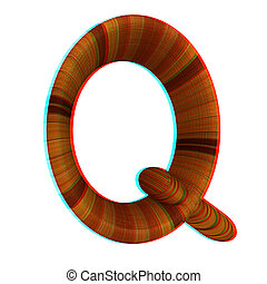 """Wooden Alphabet. Letter """"Q"""" on a white. 3D illustration. Anaglyph. View with red/cyan glasses to see in 3D."""