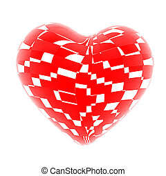3d beautiful red glossy heart of the bands. 3D illustration....