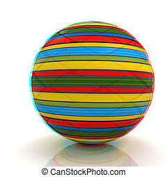 3d colored ball 3D illustration Anaglyph View with redcyan...