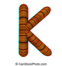 """Wooden Alphabet. Letter """"K"""" on a white. 3D illustration...."""