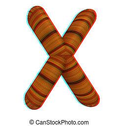 """Wooden Alphabet. Letter """"X"""" on a white. 3D illustration...."""