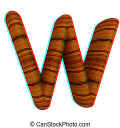"""Wooden Alphabet. Letter """"W"""" on a white. 3D illustration. Anaglyph. View with red/cyan glasses to see in 3D."""