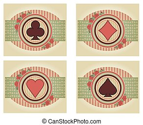 Set vintage poker cards, vector illustration