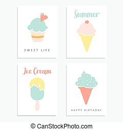 Set of summer cards with ice cream, sundae, popsicle in...