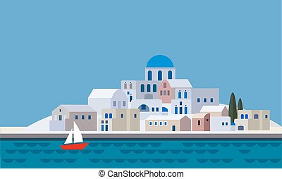 Mediterranean landscape by sea, Greek island with little town, village, resort, beach, flat design, vector