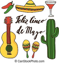 Set of hand drawn mexican icons for cinco de mayo holiday, isolated doodle illustrations