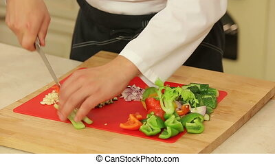 Chopping food ingredients