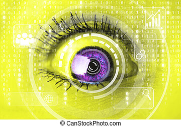 Cyber woman with matrix eye concept
