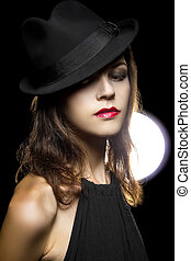 Retro Film Noir Style Make Up - Actress with classic smoky...