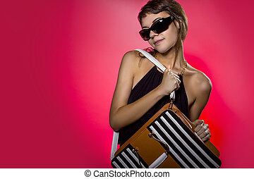 Woman With Leather Bag on Red Background - Female holding a...