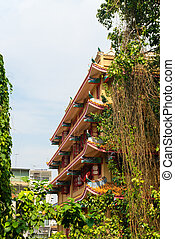 Multitiered Exterior of a Chinese Buddhist Temple in Bangkok...