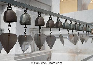 diminuto, metal, campanas, como, viento, carillones,