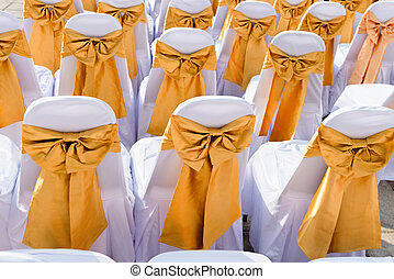 Public Event Seating with Silk Chair Covers and Sashes -...