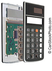 Calculator chip installed on integrated circuit, isolated on...