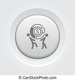 Market Share Icon. Business Concept. Grey Button Design