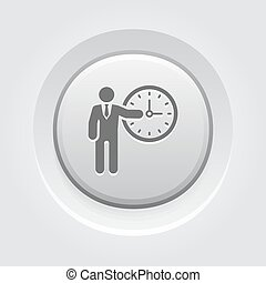 Time Management Icon Business Concept Grey Button Design
