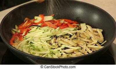 Stewing vegetables in a wok - Chef is stewing vegetables in...