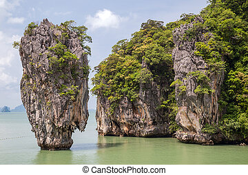 Khao Tapu rock at James Bond island, Andaman Sea, Thailand -...