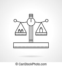 Balance with weights flat line vector icon - Balance or...