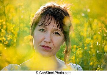 woman portrait in yellow