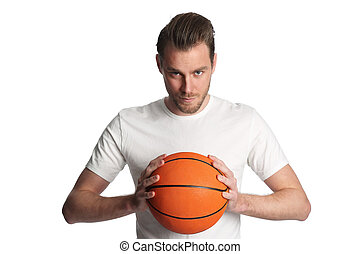Staring basketball player - Focused basketball player...
