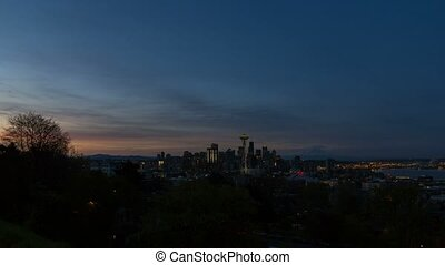Time lapse Seattle WA at Sunrise 4k - Ultra high definition...