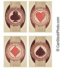 Set casino poker cards in vintage