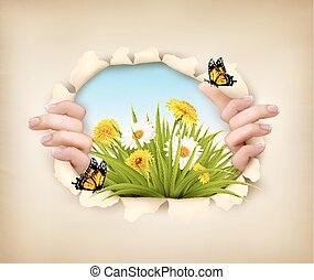 Spring background with hands, ripping paper to show a...