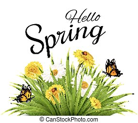 Spring background with grass, flowers and butterflies.