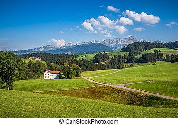 Idyllic landscape in the Alps, Appenzellerland, Switzerland...