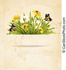 Grass with flowers on old paper background.