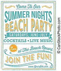 Vintage Beach Party Poster