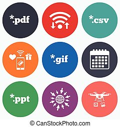Document signs. File extensions symbols. - Wifi, mobile...