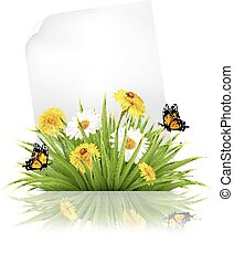 Sheet of paper with grass and spring flowers.