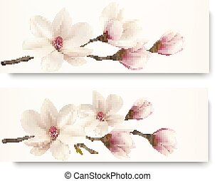 Two magnolia banners.