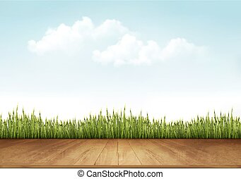 Nature background with a wooden deck