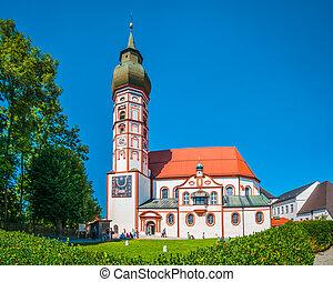 Andechs, abadia, em, verão, distrito, de, Starnberg,...
