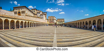 Lower Plaza near famous Basilica St. Francis of Assisi,...