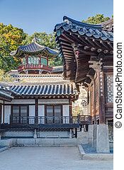 Pagoda and details of architecture in Changdeokgung  Palace