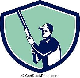 Hunter Holding Shotgun Rifle Crest Retro