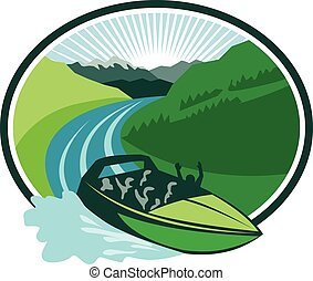 Jetboat River Canyon Mountain Oval Retro - Illustration of a...