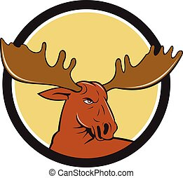Moose Head Circle Cartoon - Illustration of a moose head...