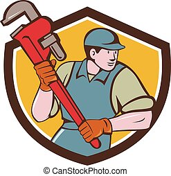 Plumber Running Monkey Wrench Crest Cartoon - Illustration...