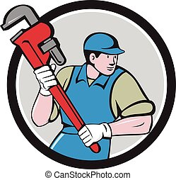 Plumber Running Monkey Wrench Circle Cartoon - Illustration...