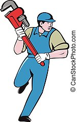 Plumber Running Monkey Wrench Cartoon - Illustration of a...