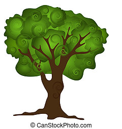 Green abstract tree isolated on white background for design...