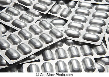 Blisters drugs - Many blisters filled, silver color,...